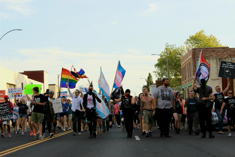 Hundreds of participants marched along  Vandeventer Avenue on Sunday evening following a rally at the Transgender Memorial Garden in support of transgender rights. July 30, 2017