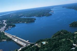 An aerial view of Lake of the Ozarks.
