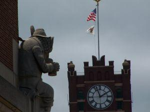 bevo fox looking at AB clocktower. 2008. 300 pixels