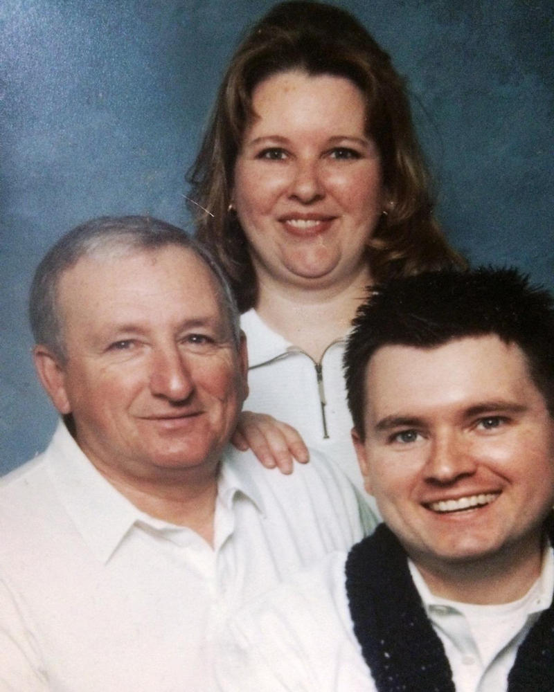 Matthew Kerns is at the bottom right in this 2005 family photo with his father Bob Kerns and sister Mary Anne Donnell.