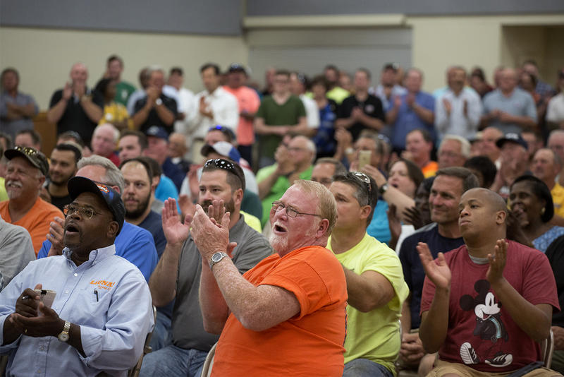 Union members gathered at the International Brotherhood of Electrical Workers Hall on Tues., Aug. 8, 2017, to notarize and turn in petitions to force a statewide vote over Missouri's right-to-work law.