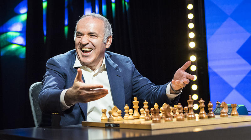 Garry Kasparov at the first day of the Paris stop of the 2017 Grand Chess Tour