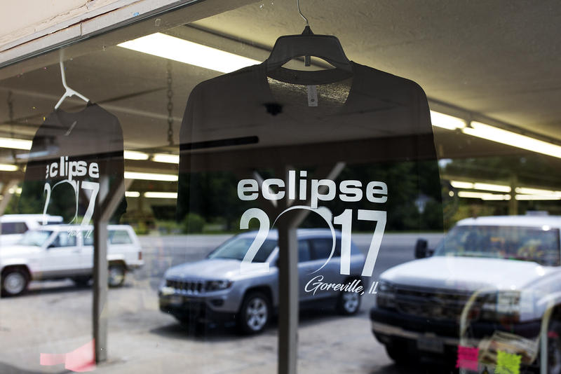 Gas stations and supermarkets in Goreville are selling eclipse t-shirts and viewing glasses.