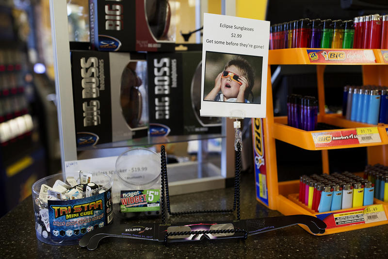 Eclipse glasses for sale at Acee's gas station and market in Goreville, Illinois.
