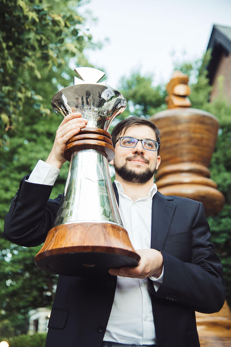 Maxime Vachier-Lagrave holds the trophy for the 2017 Sinquefield Cup