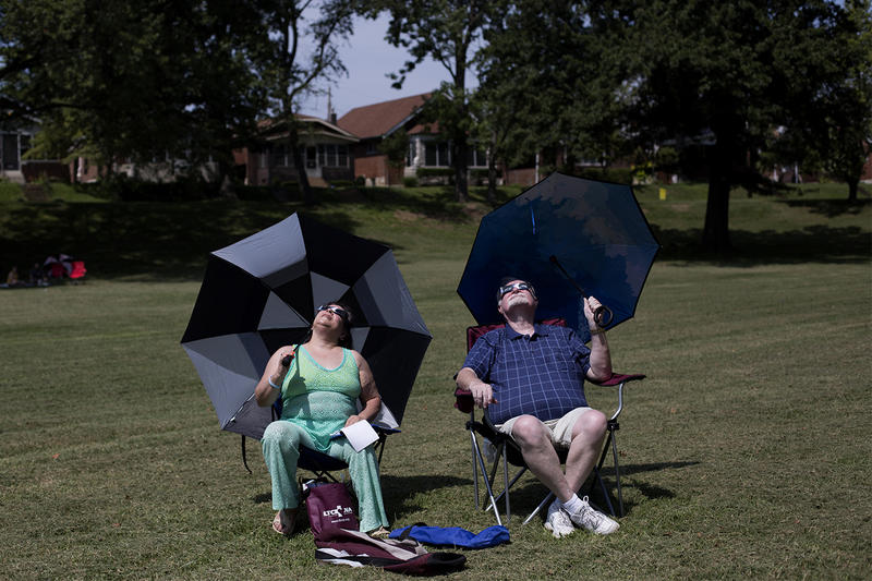 Raelene and James Cohenour traveled to St. Louis from Pekin, Illinois to watch the eclipse. They set up at Christy Park in south St. Louis.