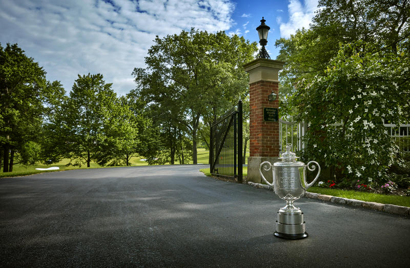 The Wanamaker Trophy outside the gates of Bellerive Country Club in Town and Country. The trophy goes to the winner of the annual PGA Championship. The 100th edition of the tournament is next year at Bellerive.