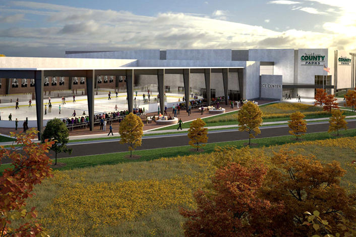 A rendering of the St. Louis Ice Center at Creve Coeur Lake Memorial Park.