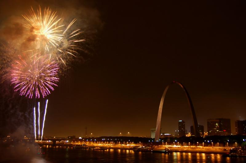 Fireworks at Fair St. Louis on the Fourth of July in 2006.