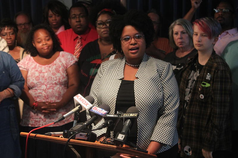 Sen. Maria Chappelle-Nadal addresses the media in August 2017 in Ferguson. Senators could consider expelling Chappelle-Nadal from the Senate during next week's veto session.