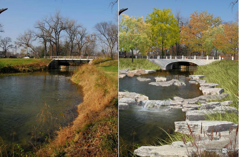 Before and after: Architectural rendering, right, shows new bridge and waterway enhancements that will replace the old Liberal Arts Bridge, left.