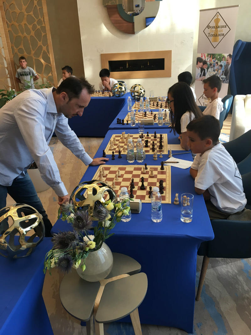 Former world chess champion Veselin Topalov contemplates his move