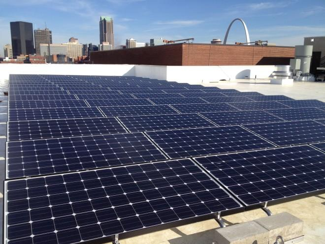 A solar energy project on the roof of Nestle Purina's builidng in downtown St. Louis.