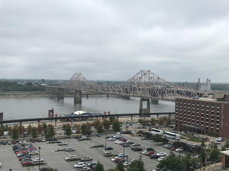 The Mississippi River as seen Sept. 13, 2017, from the Four Seasons Hotel in Laclede's Landing at St. Louis.