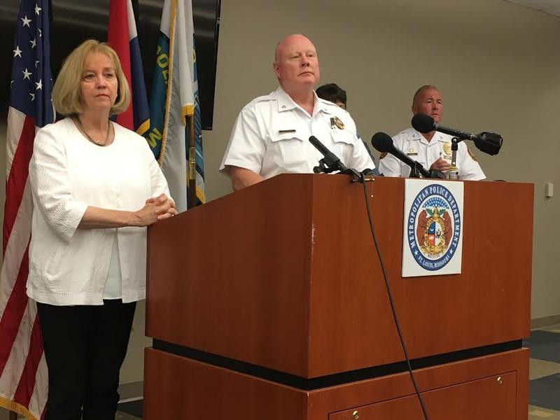 St. Louis Mayor Lyda Krewson and St. Louis interim Police Chief Larry O'Toole address reporters on Saturday, September 16, 2017.