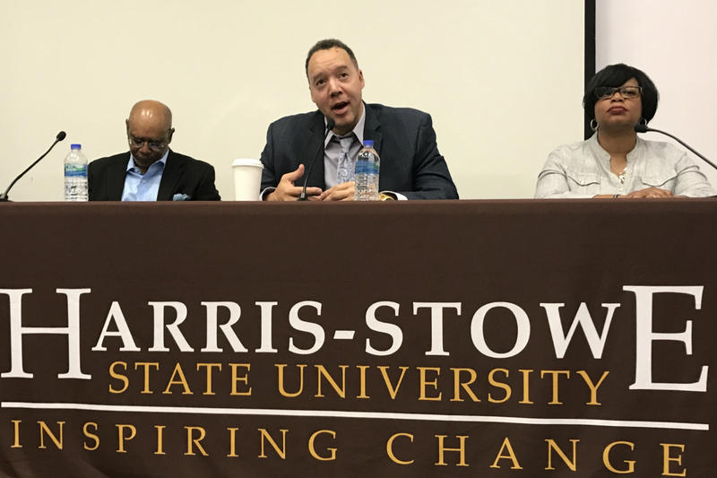 Panelists at Harris-Stowe University discuss racial inequality on Sept. 21, 2017.
