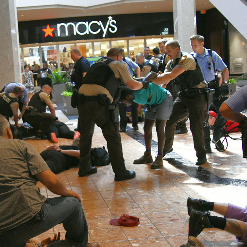 St. Louis County police arrested at least 22 people Saturday, Sept. 23, 2017, during a protest at the Galleria mall.