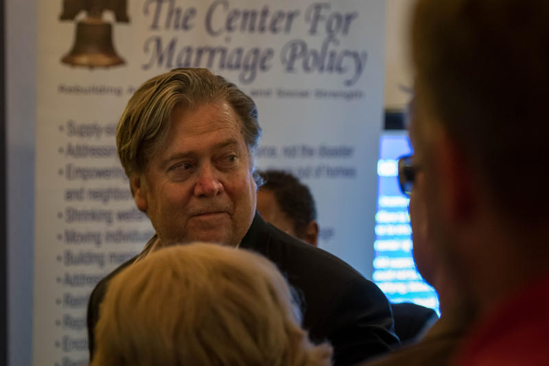 Steve Bannon blasted Republican leaders Sunday for not supporting President Donald Trump.