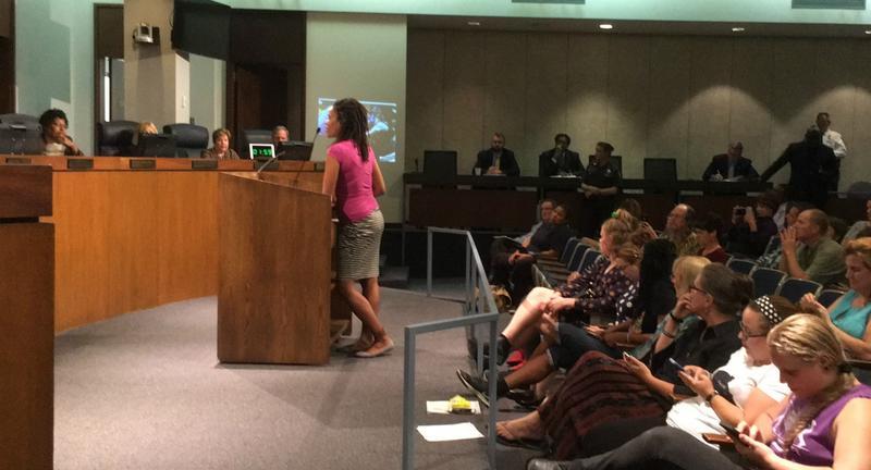 University City resident Kristine Hendrix speaks at a meeting of the St. Louis County Council. Sept. 26, 2017