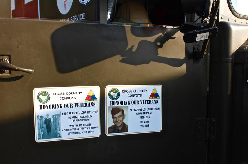 Some drivers post tributes to family members and friends who served in the military.