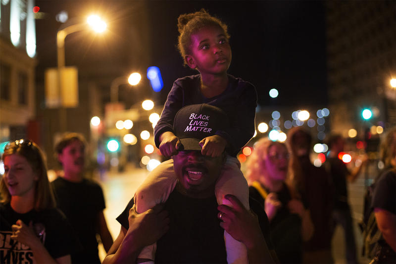 Protesters gather at Washington and Tucker in downtown St. Louis following the People's Town Hall event. Sept. 28, 2017