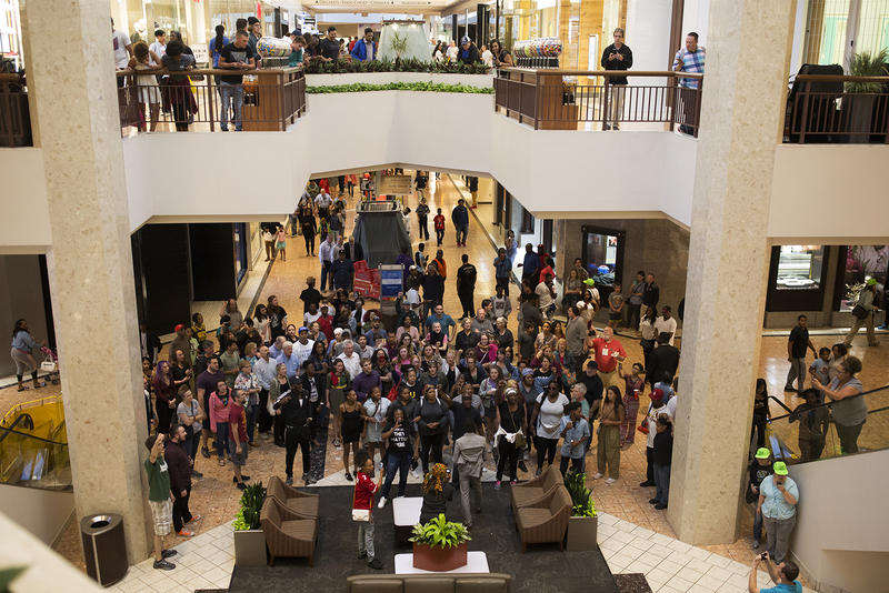 Demonstrators gather at the St. Louis Galleria, where police arrested several protesters a week earlier.  Sept. 30, 2017