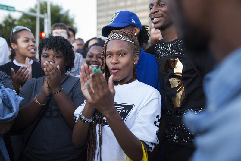 Raven Harris, 18, was at the St. Louis Galleria when she saw the protest and decided to join in. Sept. 30, 2017