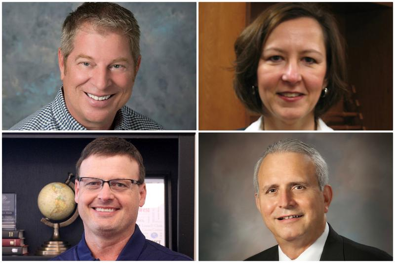 Clockwise from top left: Affton Superintendent Steve Brotherton, Kirkwood Interim Superintendent Michele Condon, Lindbergh Superintendent Jim Simpson and St. Charles Superintendent Jeff Marion. Brotherton, Simpson and Marion are retiring in June.