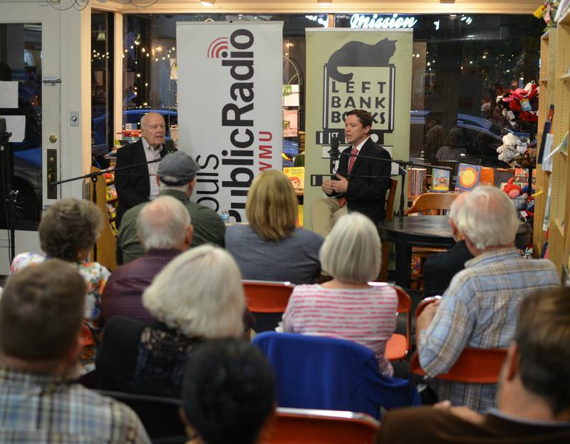 "Author Nick Pistor and St. Louis on the Air host Don Marsh discuss ""Shooting Lincoln"" at Left Bank Books on Sept. 27."
