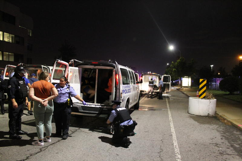 Police arrested dozens of people on Oct. 3, 2017, after they blocked part of Interstate 64.