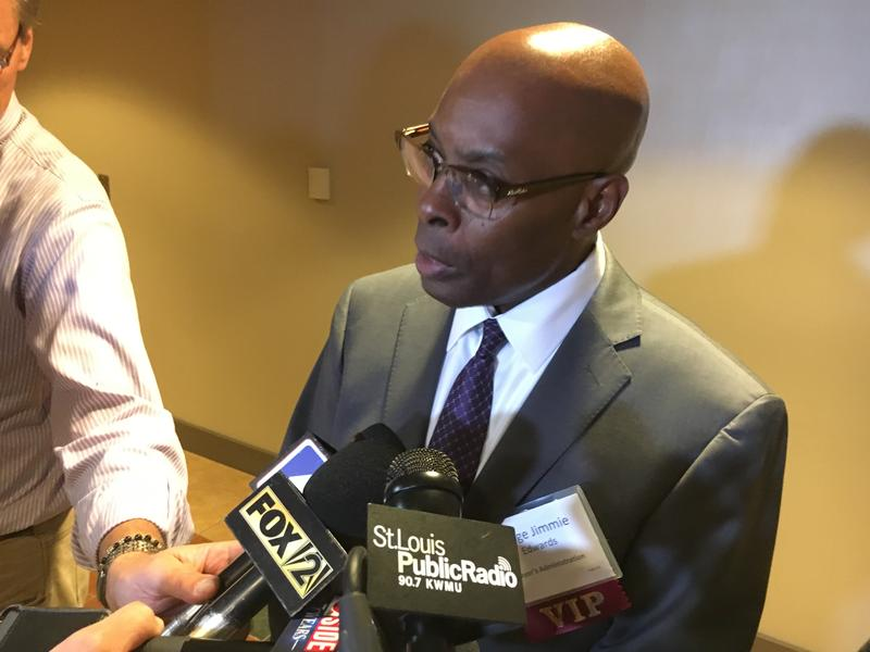 St. Louis Circuit Judge Jimmie Edwards talks to reporters on Friday after being appointed as the city's public safety director.