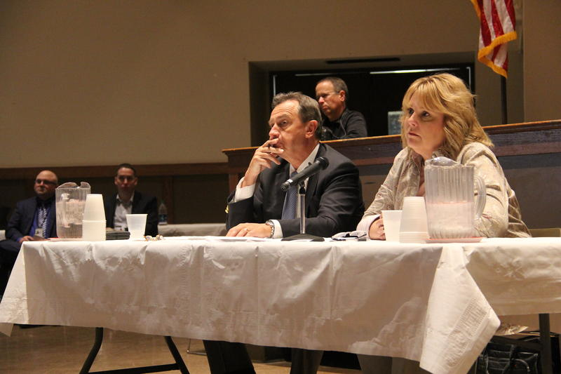 Albert Kelly, former head of the EPA's Superfund Task Force, and EPA Region 7 administrator Cathy Stepp attend a town hall in Bridgeton about the West Lake Landfill Superfund site in October 2017