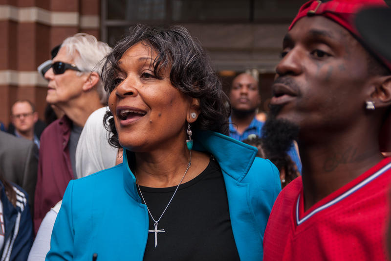 Arlene Holt Baker, executive vice president emerita of the AFL-CIO, joins state Rep. Bruce Franks outside America's Center on Saturday, Oct. 21, 2017.