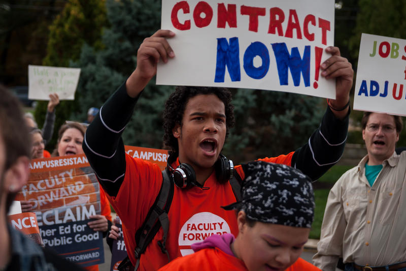 St. Louis Community College freshman Isaiah Wilson, 19, rallies in support of adjunct faculty's contract negotiations on Monday, Oct. 23, 2017.