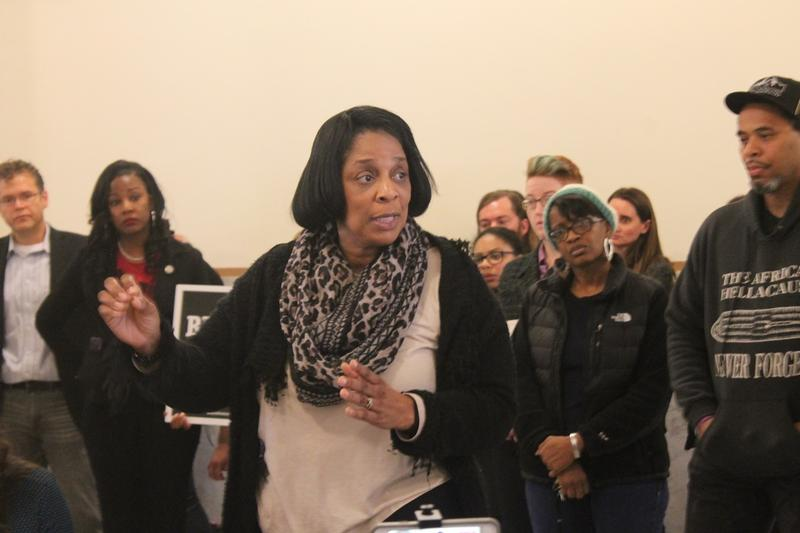 St. Louis Alderwoman Sharon Tyus, D-1st Ward, joins a wide-ranging coalition of groups on Oct. 24, 2107 to oppose Proposition P, a half-cent sales tax increase that will primarily fund higher pay for St. Louis police officers.