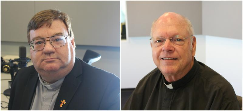 Deacon Carl Sommer (left) and Pastor Keith Holste (right) discuss Lutheran-Catholic joint commeration events for the 500th anniversary of the Reformation