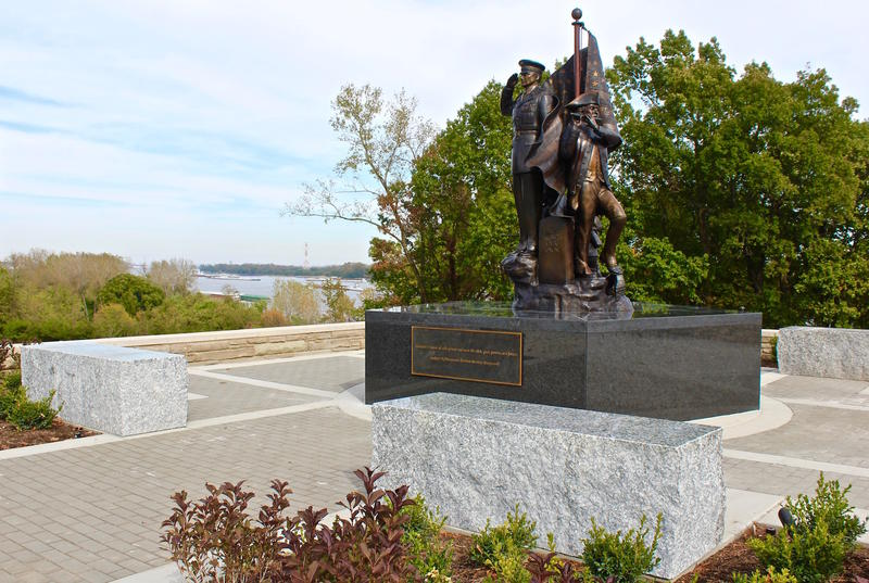 The new Old Guard Monument and Plaza in Jefferson Barracks Park has a commanding view of the Mississippi River.