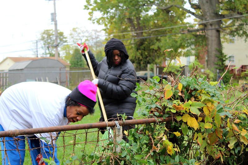 Brenda and Cathy Marshall clear brush from an empty lot in University City. The sisters were among hundreds of volunteers that cleaned up the neighborhood and completed minor home repairs Oct. 28, 2017.