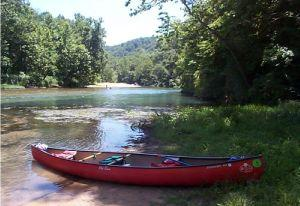 canoe on Ozark stream. 2008. 300 pixels.