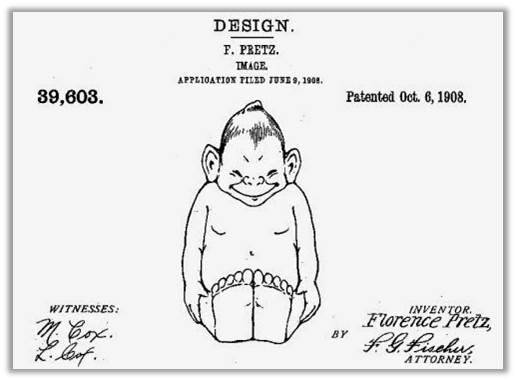 Florence Pretz's original design for the Billiken, patented in 1908.