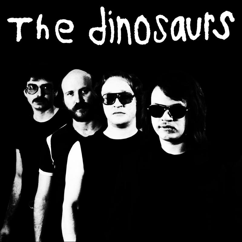 The Dinosaurs album cover features all four bandmates shot in black and white in a line.