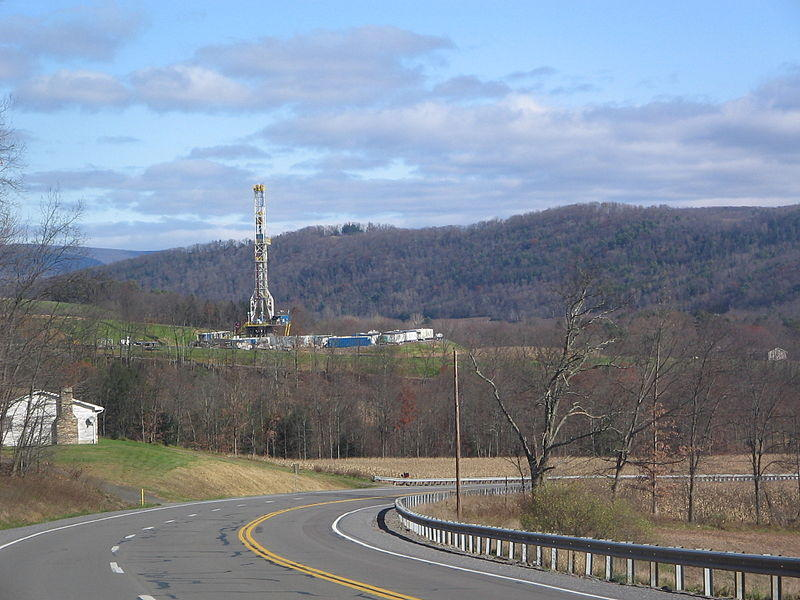 Tower for drilling horizontally into the Marcellus Shale Formation for natural gas in Moreland Township, Pa.