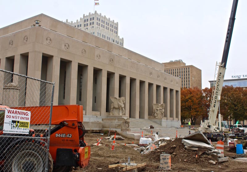 Work continues on the Soldiers Memorial in downtown St. Louis. The monument is set to reopen in time for Veterans Day 2018.