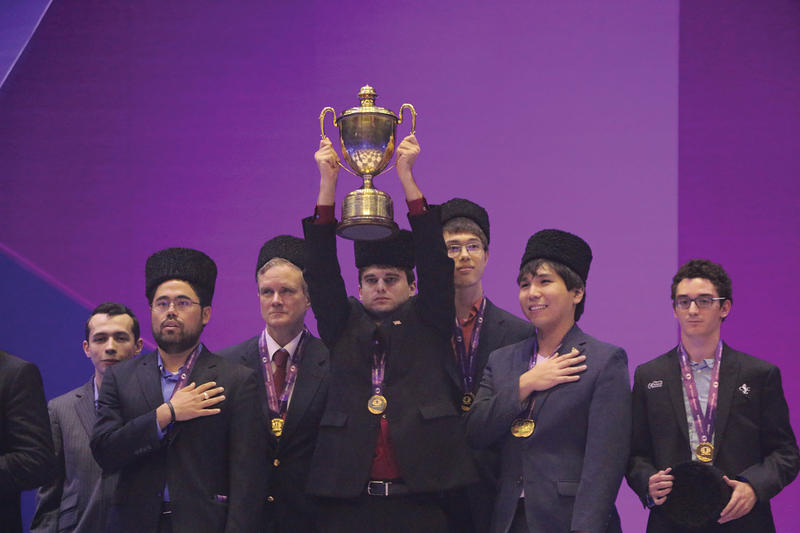 the 2016 U.S. Chess Olympiad team. From left to right, Alex Lenderman (coach), Hikaru Nakamura, John Donaldson (captain), Sam Shankland, Ray Robson, Wesley So, and Fabiano Caruana.