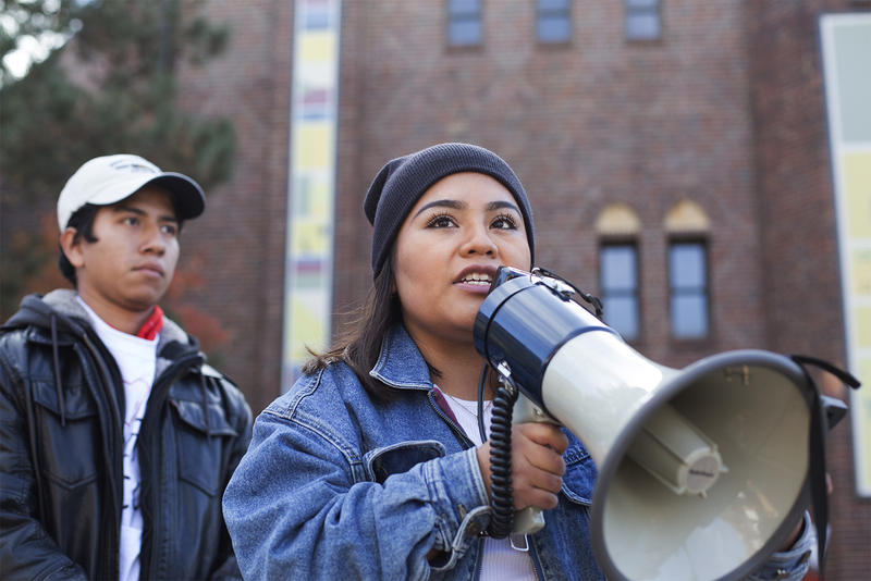 DACA activists rally outside an event organized by U.S. Rep. Lacy Clay at St. Louis University. Nov. 10, 2017
