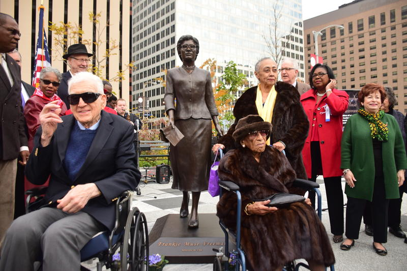 Frankie Freeman, family, and bronze statue. November 2017.