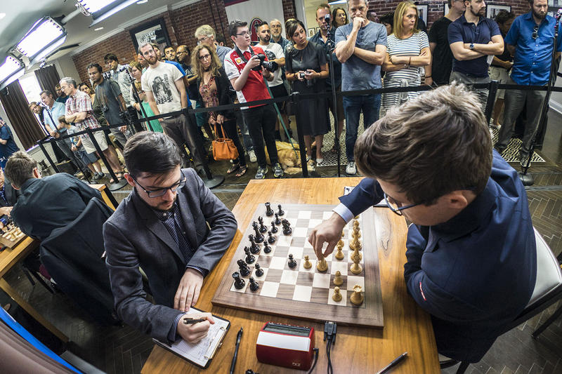 Magnus Carlsen (right) and Maxime Vachier-Lagrave, the two grand masters battling for the Grand Chess Tour 2017 crown