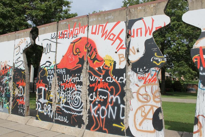 A section of the Berlin Wall is featured in Fulton, Missouri as an art installation of Winston Churchill's granddaughter, British artist Edwina Sandys.