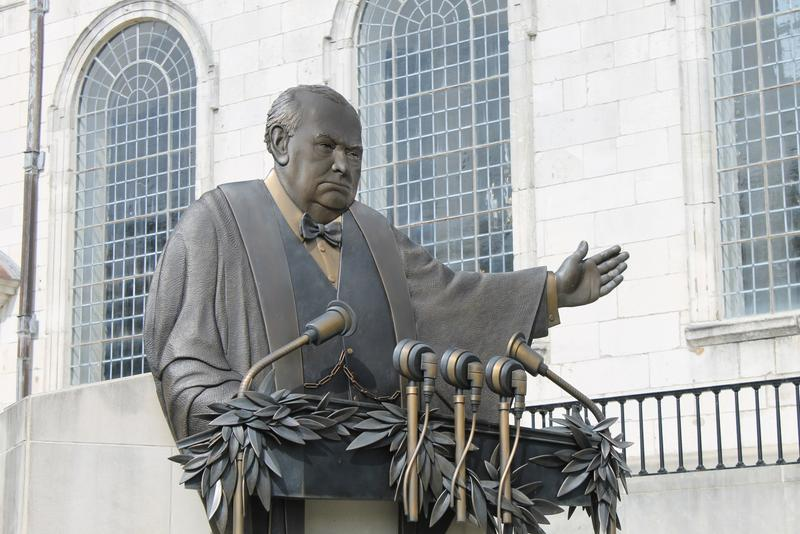 "A sculpture of Winston Churchill delivering his famous ""Iron Curtain"" speech."