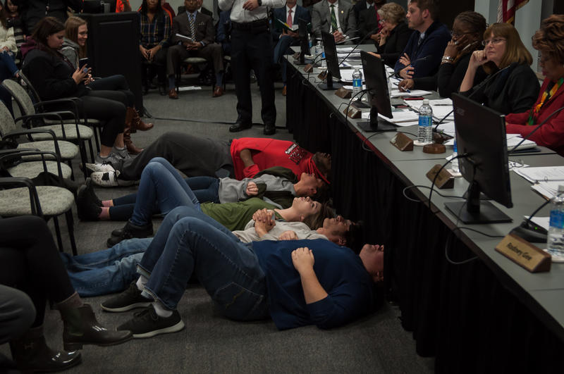 St. Louis Community College student lie on the floor and chant during a Nov. 30, 2017 Board of Trustees meeting in an effort to delay a vote on teacher layoffs and budget cuts. Five of those students are now facing disciplinary action from the school.